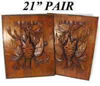 Antique Victorian Black Forest Style Carved Oak Salvage Panel PAIR, Hunt Birds