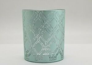 Yankee Candle Tea Light - Votive Holder TEAL GEO FROSTED ADDISON NEW TAG