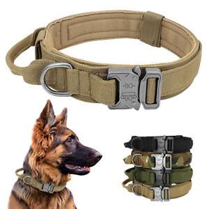 Tactical Dog Collar w/ Handle Heavy Duty Military Service Canine Training K9