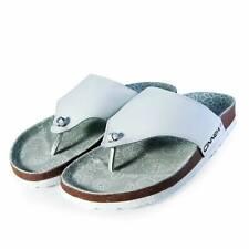 Cinnea® Pantoletten Leder-Riemen Zehentrenner Sommer Sandalen mit Fußbett, weiß