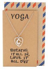 Scorpion Yoga Pose Open Heart Necklace, Silver-Tone, Zen Pendant Charm Gift