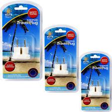 Seguro De Viaje Euro Enchufe Triple Pack, 3 X adaptador convertidor Reino Unido a la UE de energía