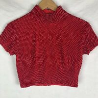 Cache Vintage Red Beaded Crop Top Shirt Sz 6 Made in Hong Kong Evening Club 80's