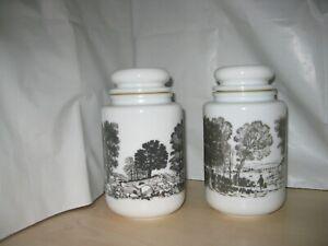 """White Milk Glass Rural Storage  jars, Tree Silhouettes. logo, 6"""" x 4"""""""