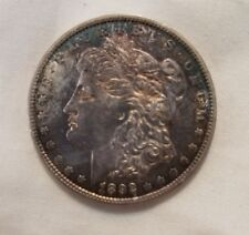 1892 o morgan silver dollar BU toned colorful attractive steel blue red gold etc