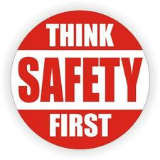 Think Safety First Hard Hat Decal / Helmet Sticker Label Harness Laborer Foreman