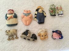 LOT OF 9 COUNTRY KITCHEN COW & PIG FRIDGE MAGNETS CLAY ART, MIXED