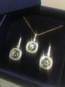 Original Swarovski Rose-Gold Plated Crystal Necklace Bracelet Earrings Set
