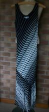 WALLIS Black/White Sleeveless Striped Maxi Dress, Size 10
