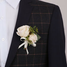 1 x Ivory Men's Corsage Silk Rose Pin Brooch Flowers Boutonniere Corsage Wedding