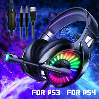 LED Stereo Bass Surround Gaming Headset for PS4 Xbox One XPC Mic