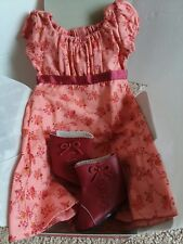 American Girl Doll Caroline's Travel Outfit Dress BOOTS Coral