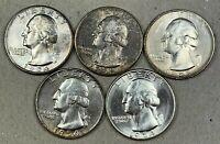 Lot Of 5 BU MS Washington Silver Quarters Toned - 1953-S, 1954 P, D, S, 1958