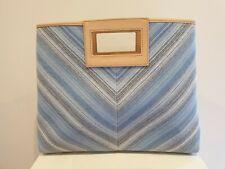Armani Exchange Blue Striped Fabric Handbag with Detachable Purse