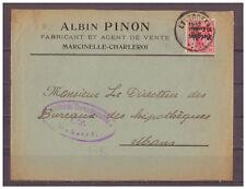 DT. CAST 1.wk Belgio MiNr. 3 EF Marcinelle-Charleroi dopo Mens 1916 censura