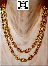 GORGEOUS VINTAGE FRENCH DESIGNER CELINE GOLD LOGO SAUTOIR NECKLACE