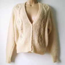 THE VILLAGER Womens P Small Vintage Sweater Mohair Wool Cream Yellow Design A5