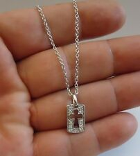 925 STERLING SILVER LADIES CROSS CUT OUT NECKLACE PENDANT W/ .45 cts ACCENTS