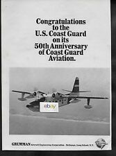 GRUMMAN AIRCRAFT SA-16 ALBATROSS CONGRATULATIONS COAST GUARD 50TH ANNIVERSARY AD