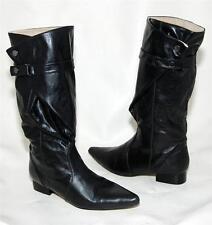 Danna Velenta Black High Calf Almost Knee Length Boots For Women Size 40