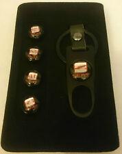 Gorra De Aire Neumático Válvula Polvo de asiento negro de cuero tapa cerrada llave de rueda x 4 SECB
