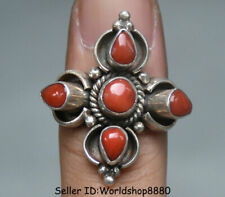 """1.2"""" Tibet Tibetan Silver Inlay red coral Gem Flower Ring Rings Woman jewelry"""