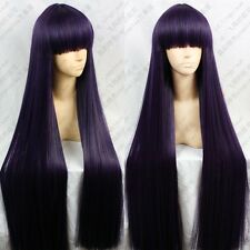 Anime Inu x Boku SS Ririchiyo Shirakiin 100cm Purple Mix Black Cosplay Wig E083