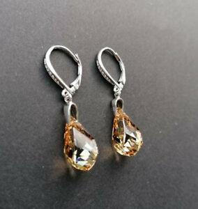 925 Sterling Silber  Ohrringe mit SWAROVSKI ELEMENTS helix golden shadow gold