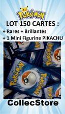 ☺LOT 150 Cartes Pokémon - Sans double dont Rares/Brillantes + 1 Figurine PIKACHU