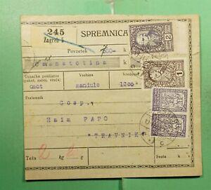 DR WHO 1921 YUGOSLAVIA ZAGREB MONEY ORDER RECEIPT TO TRAVNIK  g12586