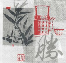 4 single paper decoupage napkins. Chinese letters, bamboo leaves, oriental-592