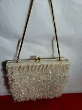 Vintage White Beaded Silk Purse Handbag With Clasp - Made In Hong Kong