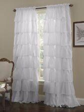 "1-pc White Shabby Crushed Voile Sheer Chic Ruffle Curtain Panel 60"" x 63"""