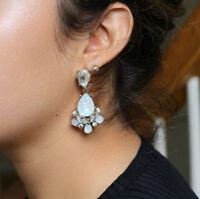 Crystal Earrings - Drop Dangle Earrings with Clear & Light Blue Rhinestones