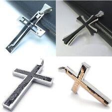 Croce Ciondolo IN Acciaio con Catena Catenina Sfere Diverse Colori E Modelli