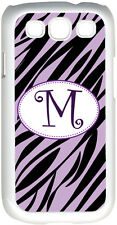 One Initial Curlz Monogram Lavender & Black Zebra Design Samsung Galaxy S3 Case
