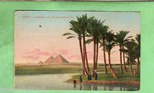 EGYPT  MILITARY POSTCARD -  1918, ON ACTIVE SERVICE, PYRAMIDS OF GIZA
