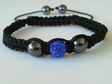 Shamballa Bracelet Royal Blue Crystal Disco Ball  Adjustable black Women SB5