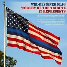 Red White & Blue Thin Blue Line USA Flag From American 3x5 ft Support Police TEX
