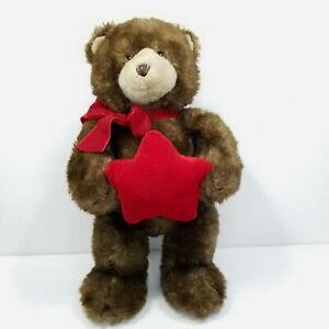 GUND Brown Teddy Bear Plush Red Star Ring Jewelry Holder Bow Stuffed Animal