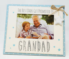 """The Best Dads Get Promoted To Grandad Photo Frame 6"""" X 4"""" Rustic Home Decor Chic"""