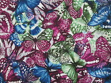 Butterfly Butterflies Forrest Green Blue Purple Cotton Fabric FQ
