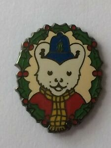 RUPERT BEAR Collectable Badges * RUPERT Police charity Xmas Holly Wreath * vgc