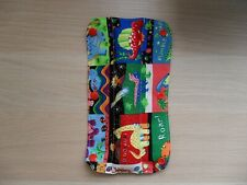 Kids Handmade Seat Belt Pad Reversible - dinosaurs / white/red polka dot (48)
