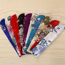 New Vintage Flower Folding Hand Pocket Fan Holder Bag Silk Protector Pouch Case