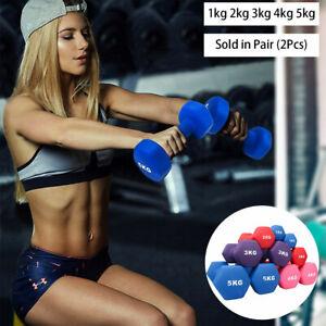 UK Neoprene Training Dumbbells [Pair] 1~5 KG- Fitness Workout Weights Dumbbells