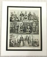 1849 Antique Engraving Print Ancient China Chinese Emperor Empress Old RARE