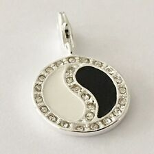 SILVER BLACK & WHITE & RHINESTONES  YING & YANG  CLIP ON CHARM -SILVER PLATE NEW
