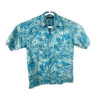 Tori Richard Men's button Down Short Sleeve Shirt floral hawaiian camp Sz S Blue