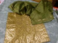 neuf s=== lot vert=  housse de coussin soie ,et écharpe
